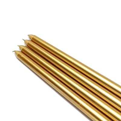 Zest Candle 12-Piece Taper Candles, 12-Inch, Metallic Gold