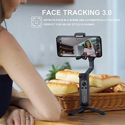 hohem Smartphone Gimbal Stabilisator, 3-Achsen Handy Gimbal Stabilisator für iPhone 12/11/X/Max Samsung Huawei usw, One-Click Bedienung, Sportmodus, Gesichtsverfolgungs, Bewegungszeitraffer (Schwarz)