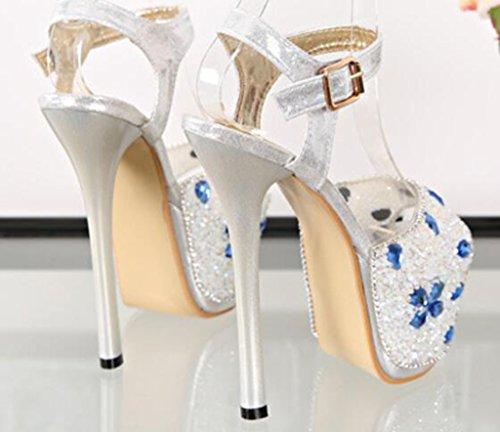Noche De Altos De Azul De Correa Flores Aguja Fiesta Tacones Tacón Sandalias Cristal Moda De Mujer De Bomba Mujeres Moda Toe Para Kitzen Zapatos Tobillo Las Botas Peep 16Cm De FUwTTOq