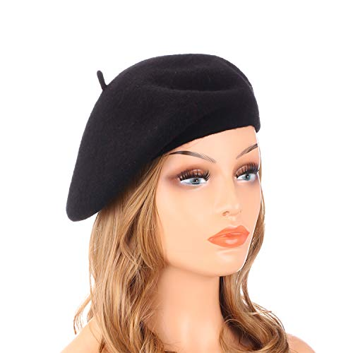 Bonnie And Clyde Outfits (Wheebo Wool Beret Hat,Solid Color French Style Winter Warm Cap for Women)