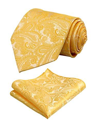 - Men's Paisley Floral Tie Handkerchief Wedding Woven Necktie Set, Yellow