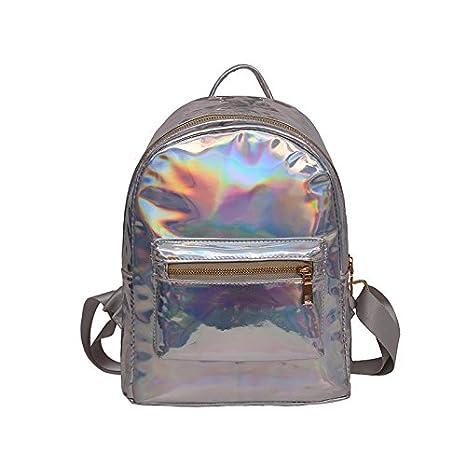 OneMoreT - Mochila reflectante holográfica para mujer de piel plateada y dorada, brillante, divertida, mochila para niña, para llevar a la escuela, ...