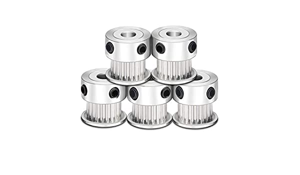 SODIAL 5PCS Aluminum GT2 Timing Belt Pulley 20 Teeth Bore 5mm Width 6mm and Wrench for RepRap 3D Printer Prusa i3