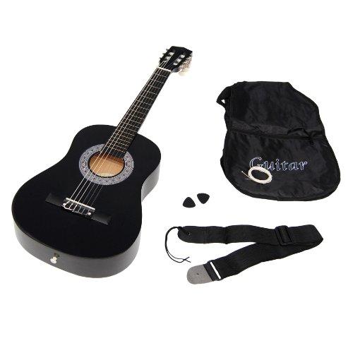 ts-ideen 3089 1/2 Kindergitarre Akustik Gitarre Schwarz für ca. 6-9 Jahre mit Zubehörset: Tasche, Gurt, Ersatzsaiten und Plektren
