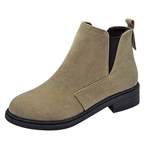 AIMTOPPY Women's Round Head Solid Color Suede Versatile Sewing Suede Boots ()