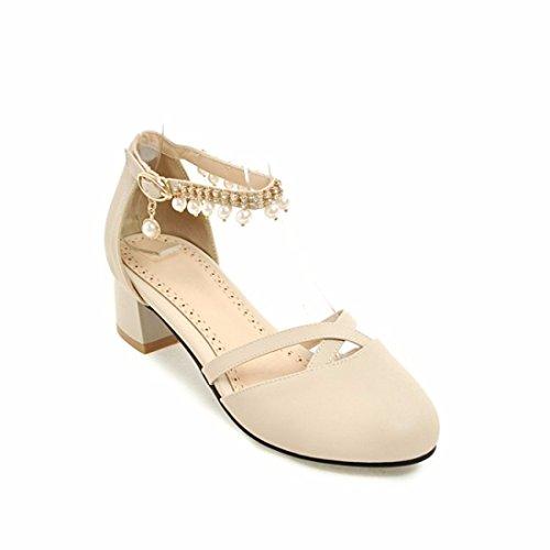 Zapatos de Tacón/Pearl Borla, Baotou Big Size Calzado Mujer Sandalias Beige
