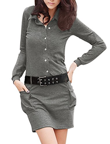 Button Belted Shirt Dress Front - Allegra K Women Button Upper Baggy Pockets Belted Shirt Dress XS Dark Grey