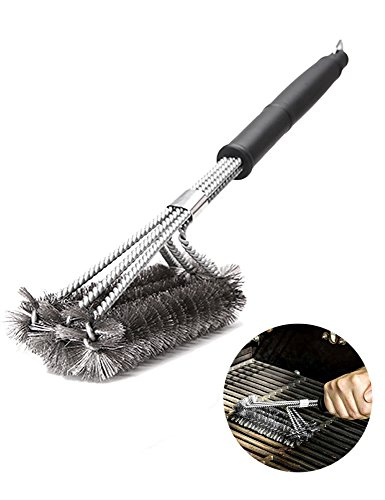 Peterivan Best BBQ Grill Brush - 17.5 Inches Stainless Steel Barbecue Grill Brush 3 in 1, Durable & Effective, Safe Grill Cleaner Wire Bristle - Best Grill Accessories Gift for Barbecue Lovers