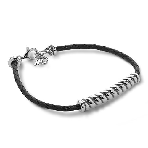 American West Sterling Silver Black Braided Leather Rope Bar Bracelet Size - Sterling Braided Bracelets Silver