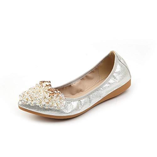 FLYRCX Zapatos Planos Puntiagudos de Diamantes de imitación Zapatos Suaves y cómodos de Mujer Embarazada de Fondo Blando Zapatos de Ballet de Damas Zapatos Plegables Puestos en su Bolso, 36 UE 38 EU