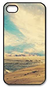iPhone 4S Case Cover - Beach Waves At Sunset Polycarbonate Plastics Hard Case Cover for iPhone 4s/4 - Black