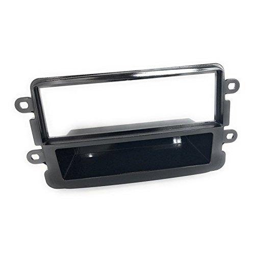 Kit montaggio autoradio stereo mascherina 1 din dacia duster sandero nero lucido