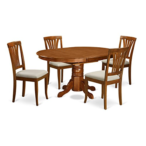 5 Pc set Dinette Table featuring Leaf and 4 Upholstered Dinette Chairs in Saddle Brown