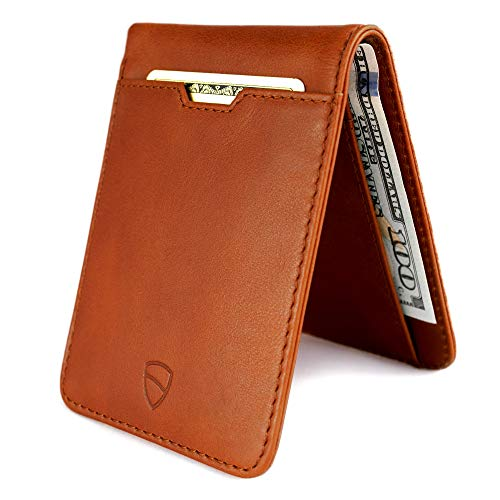 Vaultskin MANHATTAN Slim Bifold Wallet with RFID Protection for Cards and Cash - Top Quality Italian Leather - Ultra Thin Front Pocket Holder Designed for up to 9 Cards and Cash (Cognac)