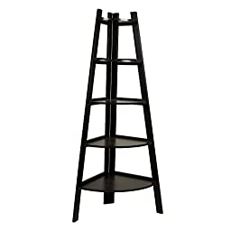 5 Tier Corner Display Unit Shelf / Rack - Black