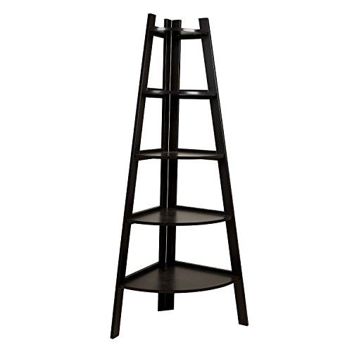 - Five Tier Corner Ladder Display Bookshelf - Black