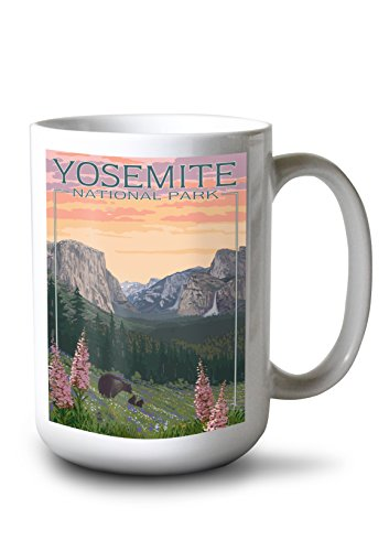Lantern Press Yosemite National Park, California - Bear and Cubs with Flowers (15oz White Ceramic Mug)
