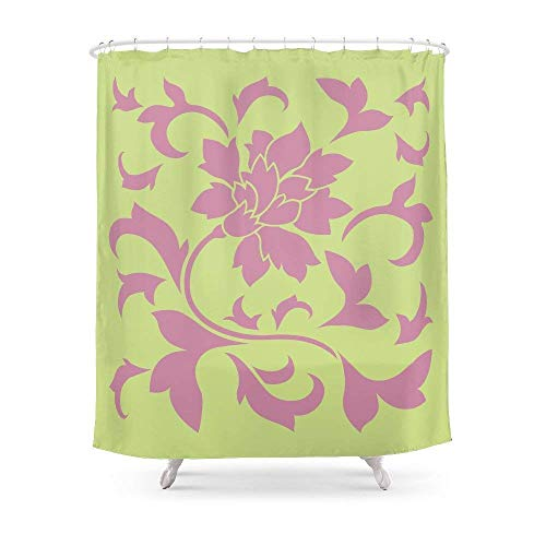 Fungaby Oriental Flower - Strawberry & Daiquiri Green Lime Shower Curtain 60