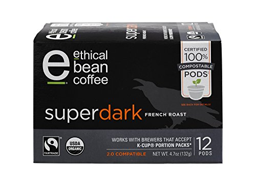 Superdark Ethical Bean Coffee: 100% Compostable Single Serve K-Cups, French Roast - USDA Certified Organic, Fair Trade Certified, Keurig Compatible - 12 Compostable Pods
