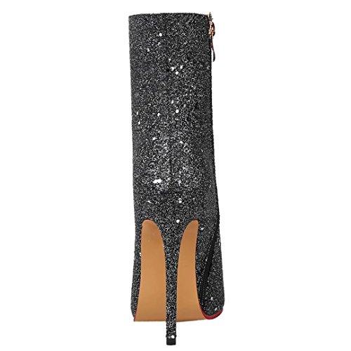 AIYOUMEI Damen Glitzer Stiefeletten mit 12cm Absatz Spitz Stiletto High Heels Elegant Modern Pailletten Ankle Boots Schwarz
