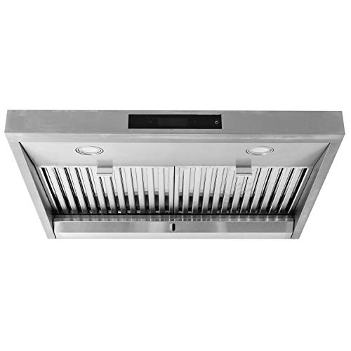 "Price comparison product image MONARCHY 30"" Under Cabinet Kitchen Range Hood – Top Ducted Exhaust Vent with Contemporary Stainless Steel Design with 950 CFM Dual Motors,  Touchscreen Interface and Dimmable LED Lamps"
