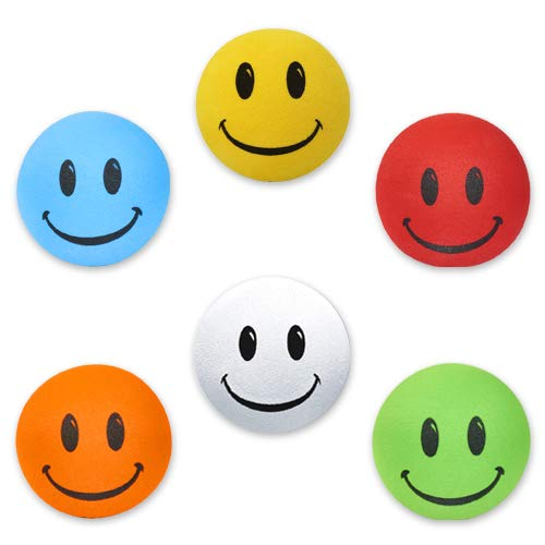 HappyBalls - 6 pcs Pack - Assorted Happy Smiley Face Car Antenna Toppers/Antenna Balls/Rear View Mirror Danglers/Auto Accessories/Desktop Buddies (Red, Yellow, Orange, Blue, White, Green)