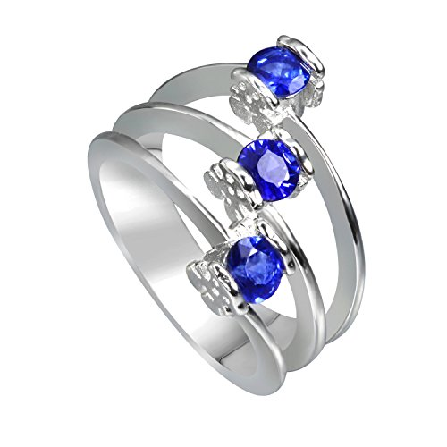 Vivid Jewelry Premium Grade Created Sapphire Statement 925 Sterling Silver Ring Gold Plated (6) by Vivid Jewelry