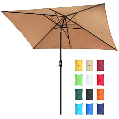 EliteShade Sunbrella 10×6.5 Ft Rectangular Market Umbrella Patio Outdoor Table Umbrella, Heather Beige