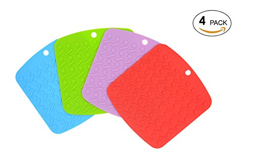 Silicone Trivet Mat by ULee, Multiple Use as Silicone Pot Holder, Spoon Rest, Jar Opener and Garlic Peeler, Non-slip, Durable and Heat Resistant (4, Assorted - Can Opener Silicone