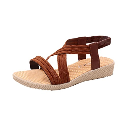 Summer Sandals, Inkach Women Bohemia Sandals Flat Bandage Shoes Casual Peep-Toe Outdoor Shoes Brown