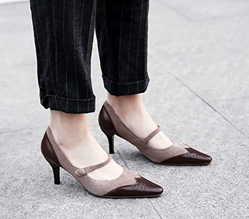Ponerse Puntiaguda Zapatos Arraysa de Qaicq tac 7CM Punta Mujer YUrqXwrt