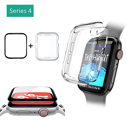 Haluoo Comptaible Apple Watch Series 4 Tempered Glass Screen Protector Film + Soft TPU Bumper Case Cover iWatch 40mm 44mm Accessories (Apple Watch Series 4 44mm)