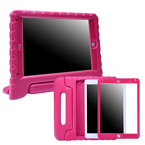 HDE iPad 2017 9.7-inch Bumper Case for Kids Shockproof Hard Cover Handle Stand with Built in Screen Protector for 5th Generation Apple iPad 9.7 inch (March 2017 Release) - Hot Pink