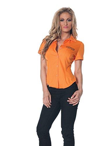 Prisoner Woman Costumes (Underwraps Women's Prisoner Fitted Shirt, Orange, Medium)