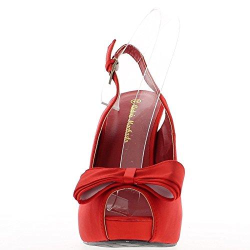 Tamaño grande satén rojo sandalias tacón 14cm y plataforma con nodo