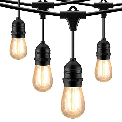 Edison 1 Medium Light - Mpow 49ft Led Outdoor String Lights, UL Listed IP65 Waterproof Dimmable Led String Lights, 15 Hanging Sockets, 1.5W Edison Vintage Bulb (1 Spare), Create Cafe Ambience for Patio Backyard - Black