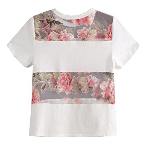 Lisingtool Women's Short Sleeve Flower Printed T-shirt Blouse Tops (XL, White)