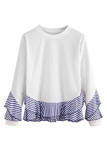 SheIn Womens Casual Round Neck Long Sleeve Striped Contrast Sweatshirt