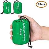 Zmoon Emergency Sleeping Bag Waterproof Lightweight Thermal Bivy Sack Survival Blanket Bags (2 Pack)