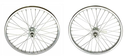 "Lowrider Chrome Steel 20"" by 1.75"" Wheel Set. Front and Rear Coaster Wheel."