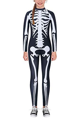 Xo Skeleton Halloween Costume (Kids Halloween Costumes Skeleton Bodysuit White Zombie Bone Print Funny Zip Up Cosplay Party Skinny Jumpsuit Black Stretch Bodycon Full Body Bone Catsuit Zentai One Piece for Girls)