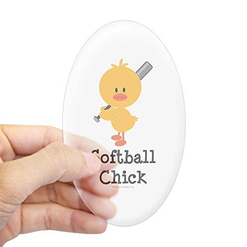 CafePress Softball Chick Oval Sticker Oval Bumper Sticker, Euro Oval Car Decal