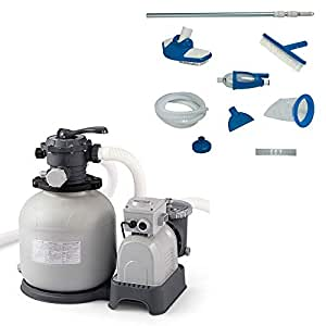 Intex 28651EG Krystal Clear 3000 GPH Above Ground Swimming Pool Sand Filter PumpIntex Deluxe Pool Maintenance Kit with Vacuum & Pole for Minimum 800 GPH Flow