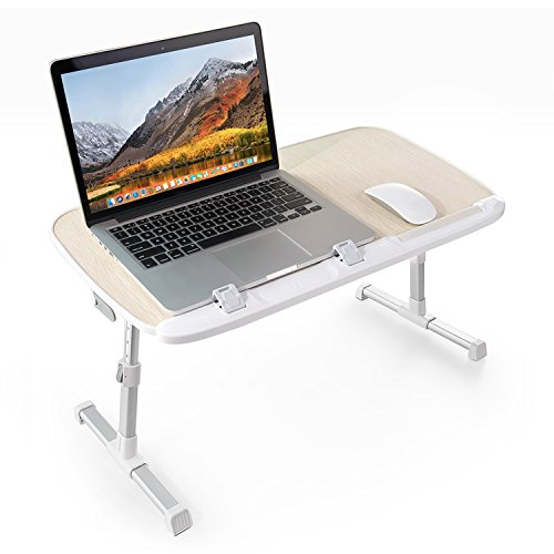 TaoTronics Foldable Laptop Table, Height Adjustable Bed Desk, Wide Stand up Desk for Reading, Sofa Desk with Foldable Legs Works as a Breakfast Tray, Foldable Table & More (With Table Breakfast Tray Legs)