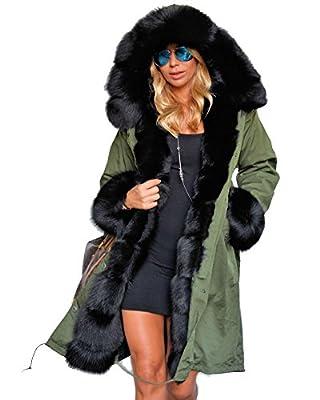 Roiii Women's Winter Faux Fur Hooded Plus Size Parka Jacket Coat
