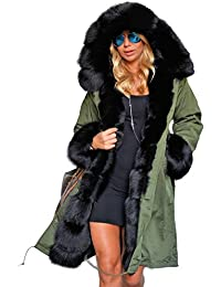 Womens Winter Thicken Faux Fur Hooded Plus Size Parka Jacket Coat Size S-3XL