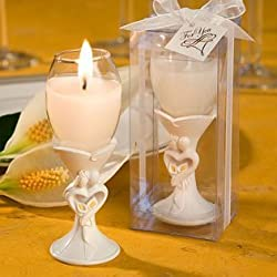 Stylish bride and groom design champagne flute candle holder favors, 48