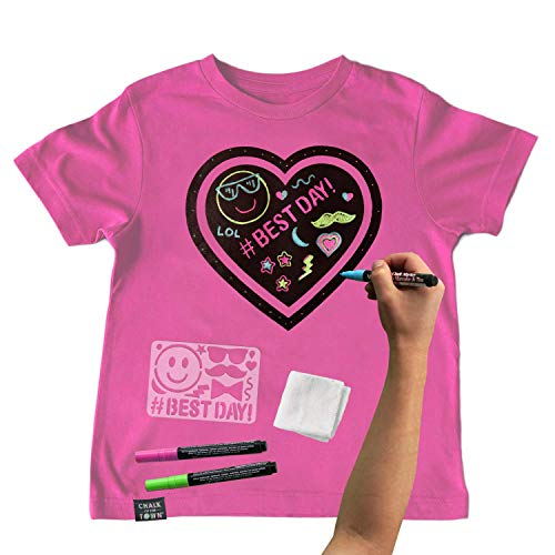 Chalk of the Town Pink Heart Chalkboard Short Sleeve T-Shirt Kit for Kids with 3 Markers and 1 Stencil (Youth Medium) (Shirt T Own Your Make Christmas)
