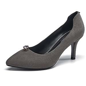 YIXINY Zapatos de tacón NQ17CDG199 Primavera Y Otoño Moda Mate Rhinestone Fine Talón del Zapato Poco Profundo Hebilla Sra Zapatos De Tacón Alto (Color : Gris, Tamaño : EU36/UK4/CN36)