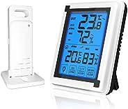 Termômetro externo para ambiente interno Higrômetro digital sem fio com LCD Touchscreen Backlight Monitor de u